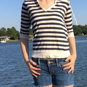 Nautical stripe hoodie shirt top tee 3/4